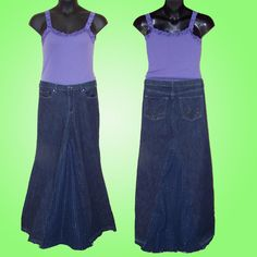 Custom DIY Long Denim BOHO Skirt Upcycled From by funkybutchic **{good price! It's a lot of work}!!**
