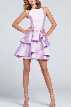 Ellie Wilde EW117016 Sleeveless Mikado Lavender Dress