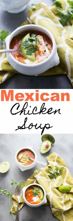 This Mexican Chicken Soup is a simple tomato-based soup that is filled with veggies and beans.    You can give this soup as little or as much spice as you like, it can handle anything! #soup #comfortfood via @Lemonsforlulu
