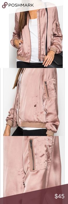 Satin bomber jacket SOLID LONG SLEEVES SATIN BOMBER JACKET SELF : 70% COTTON 30% POLYESTER LINING : 100% POLYESTER. No Trades. Available soon! These are brand new, never worn. Color= as shown. Jackets & Coats Utility Jackets