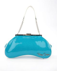 Amoeba+Handbag+in+Turquoise+Glitter+and+White+by+Pinup+Couture