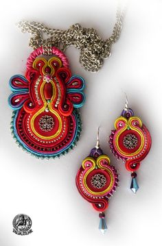 """Soutache pendant with earrings """"All the Colors"""""""