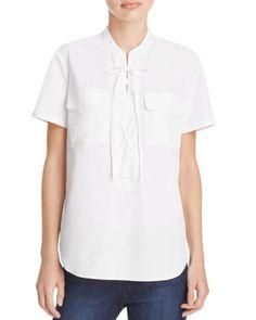 Theory Idealla Lace Up Poplin Shirt