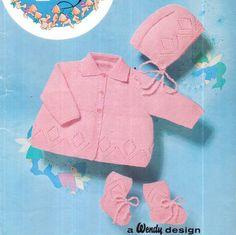 PDF Vintage 1950s Wendy Peter Pan Babys Pretty DIAMOND Lacy Matinee Coat, Bonnet & Bootees Set Knitting Pattern