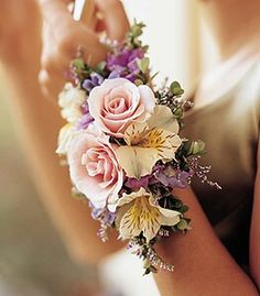 Ornate Wrist Corsage With Pink Rose Blooms, Lillies, Carnation...