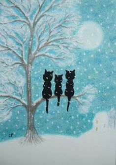 Cats Snow Card: Cat Card Cats Tree Art Card by ClaudinesArtCards