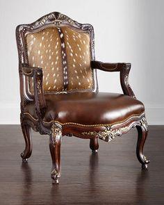 Bon Massoud Dani Hairhide Leather Bergere Chair