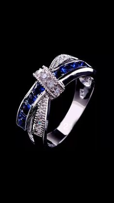 Women Engagement Jewelry Blue Sapphire 925 Silver Wedding Ring in Jewelry & Watches, Fashion Jewelry, Rings Sapphire Gemstone, Blue Sapphire, Gemstone Rings, Sapphire Wedding, Charm Jewelry, Jewelry Rings, Jewelry Watches, Jewlery, Fashion Rings