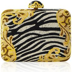Judith Leiber Couture Golden Zebra Large Slim Rectangle Evening Clutch... (101.537.635 VND) ❤ liked on Polyvore featuring bags, handbags, clutches, zebra, judith leiber handbags, judith leiber purses, zebra print handbags, zebra purse and evening clutches