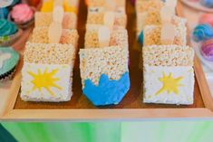 Vince and Chloe Art Attack Party - Sweets Krispie Treats, Rice Krispies, Party Themes, Party Ideas, Party Sweets, Rainbow Art, Chloe, Arts And Crafts, Desserts