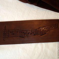 Купить Ремень для гитары, кожаный ремень, ремень из кожи, тиснение на ремне, - коричневый, ремень