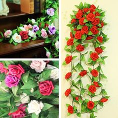 HS8 Artificial Fake Silk Rose Flower Ivy Vine Hanging Garland Wedding Home Decor Ebay