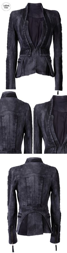 Stay fabulously warm even with your tank top with this Denim PU Leather Contrast Blazer. Create a punk-ish and cool look with this at Lookbook Store. (sp)