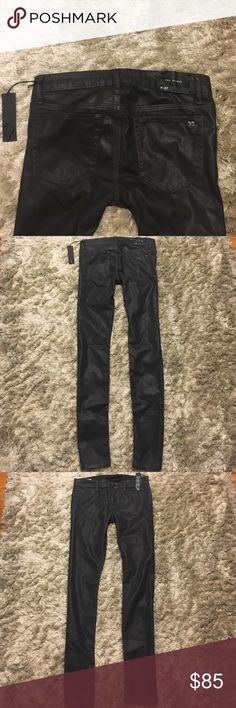 """NWT Joe's Jeans The Skinny Coated Denim Leather 27 NWT never worn Joe's Jeans """"The Skinny"""" Coated Denim Leather Black/Dark Grey Skinny Straight Leg Jeans Pants. Size 27. New with tags. Never worn. Excellent condition. They do have shine to them, almost glitter shimmer like. Joe's Jeans Jeans"""