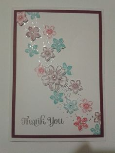 Thank you card - Stampin up by lina Engagement Cards, Making Greeting Cards, Scrapbook Cards, Scrapbooking, Stamping Up Cards, Card Making Techniques, Some Cards, Pretty Cards, Flower Cards