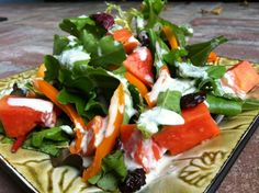 Papaya Garden Salad with Tahini Ginger Dressing - Just Glowing with Health - Raw Food Diet, Natural Recipes, and More!