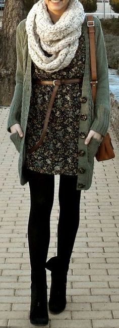 #winter #fashion / flower print dress + knit layers