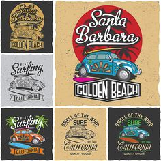 Retro surfing California t-shirt prints vector