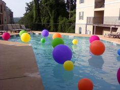 Throwing balloons in the pool is a great summer party idea.  Even better, place glow sticks inside the balloons for a 'night time' party and they look spectacular.