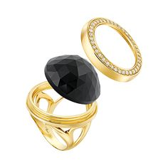 Joalheria Mineira- Collection Chameleon ring in 18k yellow gold with diamonds and onyx, medium-1
