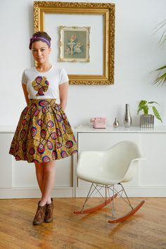 Afro T and Belle Skirt Set  100% Ankara African Wax print And Cotton Babydoll Tee shirt