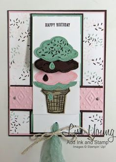 I love this Waterfall Card Lisa made with the Stampin' Up! Sprinkles of Life stamp set. Makes me want to get an Ice Cream Cone now! Handmade birthday card by Lisa Young, Add Ink and Stamp Fancy Fold Cards, Folded Cards, Handmade Birthday Cards, Happy Birthday Cards, Card Making Inspiration, Making Ideas, Waterfall Cards, Card Making Techniques, Scrapbooking