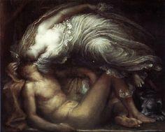 Endymion, un jeune et beau berger, inspira un amour violent à la déesse de la pleine lune. Séléné lui déroba un baiser et le plongea dans un sommeil éternel pour qu'il conserve sa beauté. Depuis, au milieu de chaque nuit, Séléné le contemple et l'aime en posant ses rayons diaphanes sur les lèvres de son bel amant... zimzimcarillon.canalblog.com | Endymion by George Frederic Watts - 1872.