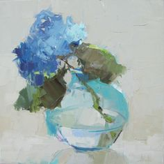 "Barbara Flowers, ""Blue Hydrangea"" - 20x20, oil on canvas--at Principle Gallery"