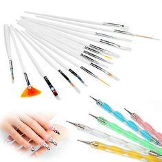 Hot Sale! 20pcs Nail Art Design Painting Dotting Detailing Pen Nail Brush Bundle Tool Kit Set Nail styling tools 131-0201 Professional Makeup Brush Set