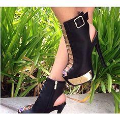 Calçados Femininos Couro Sintético Salto Agulha Saltos/Peep Toe/Plataforma Sandálias Casamento/Ar-Livre/Escritório & Trabalho Preto/Marrom - BRL R$ 478,80