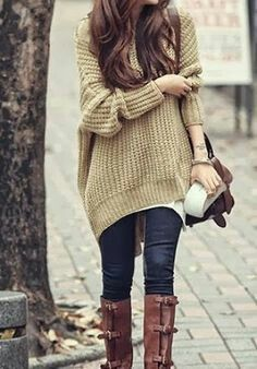 Beige oversize jumper jeans and knee length boots