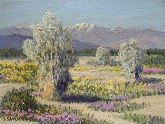 Carl Sammons, (1883 1968) Smoke Trees & Desert Wild Flowers, Palm Springs, Ca. painting