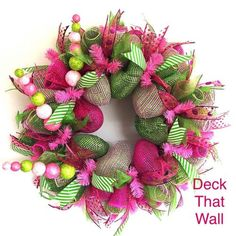 Hot Pink and Lime Green Deco Mesh Wreath