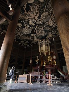 Ceiling painting at Kennin-ji temple, Kyoto, Japan (建仁寺) Japanese Culture, Japanese Art, Japanese Geisha, Japanese Gardens, Japanese Kimono, Photo Japon, Ceiling Painting, Ceiling Art, Japanese Temple