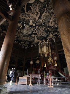 Ceiling painting at Kennin-ji temple, Kyoto, Japan (建仁寺)