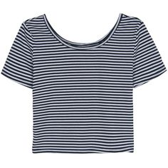 Black Stripe Print Cropped Tee (9.940 CLP) ❤ liked on Polyvore featuring tops, t-shirts, shirts, crop tops, cotton t shirts, jersey shirt, striped t shirt, crop t shirt and stripe tee