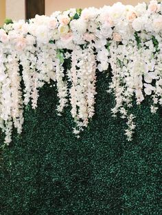 Head table on a stage with a greenery wall backdrop. roses and orchids hanging on the front of the table Wedding at Rancho Bernardo Inn in the Aragon Ballroom. photo by Cavin Elizabeth Photography Flower Wall Wedding, Wedding Wall, Wedding Flower Arrangements, Floral Wedding, Wedding Flowers, Table Wedding, Flower Wall Backdrop, Diy Backdrop, Wall Backdrops