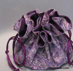 Purple Paisley--Jewelry Drawstring Travel Tote--Organizer Pouch--Medium Size - http://oleantravel.com/purple-paisley-jewelry-drawstring-travel-tote-organizer-pouch-medium-size