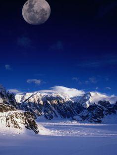 High Moon Over the Ruth Ampitheatre on Ruth Glacier, Denali National Park & Preserve, Alaska, USA Photographic Print by Mark Newman at Art.com