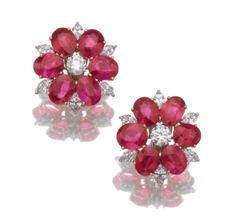 Ruby & Diamond Ear Clips - Bulgari