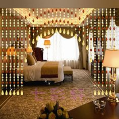 like the shape Beaded Curtains Doorway, Valance Curtains, Bead Curtains, Cozy Bedroom, Bedroom Decor, Arched Window Coverings, Door Beads, Outdoor Rooms, Room Colors