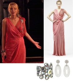 On Serena: Jenny Packham Cruise S/S 2011 Coral Embellished Drape Gown, MCL by Matthew Campbell Laurenza Paved Snowflake Cuff, Amrita Singh Beatrice Earrings