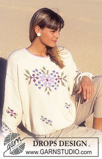 "DROPS jumper with flower pattern in ""Paris"". ~ DROPS Design"