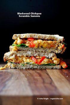 Spicy Blackened Chickpea Scramble Sandwich. Vegan Recipe - Vegan Richa