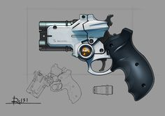 Handgun design for fun. That round thing looking like a watch is a monokular you need to wear for proper handling this gun, it is part of the scope. 3d software blender/cycles render.