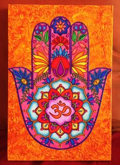 This is an acrylic painted standing standing canvas at the base, at the top) with a hand colored Hamsa Hand design mounted onto the painting, and enhance with colored rhinestone accents throughout. Modern Art Paintings, Indian Paintings, Original Paintings, Oil Paintings, Abstract Paintings, Landscape Paintings, Mandala Drawing, Mandala Painting, Hamsa Painting
