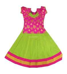 Pink and Parrot Green Skirt and Blouse Ethnic Traditional Dress Lehenga Choli Indian Baby Girls and Kids : 6 Months - 10 YearsPattu Pavadai Pure Silk Kids Frock Peacock Blue for Indian Kids Long Dress Design, Baby Dress Design, Baby Frocks Designs, Kids Frocks Design, Kids Lehenga Choli, Kids Lehanga, Kids Dress Patterns, Leaf Patterns, Sewing Patterns