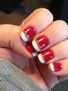 Christmas nails red base white french tip nails with silver glitter accent DIY NAIL ART DESIGNS #NAILS #NAILART #NAILPOLISH