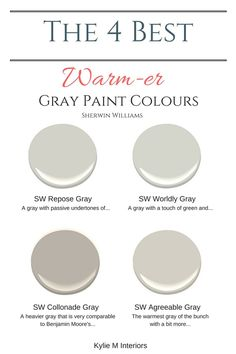 The best warm gray paint colours that are almost greige Sherwin Williams. Color Consultant Kylie M Interiors E-Design and Decor The best warm gray paint colours that are almost greige Sherwin Williams. Color Consultant Kylie M Interiors E-Design and Decor Greige Paint Colors, Interior Paint Colors, Paint Colors For Home, Paint Colours, Interior Painting, Warm Gray Paint Colors, Sand Color Paint, Gray Wall Colors, Griege Paint