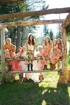 Cute wedding pose. Love how everyone is in boots!